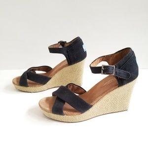TOMS size 9 Black Espadrille Wedge Sandals